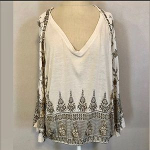 Free People beautiful boho bell sleeve peasant top